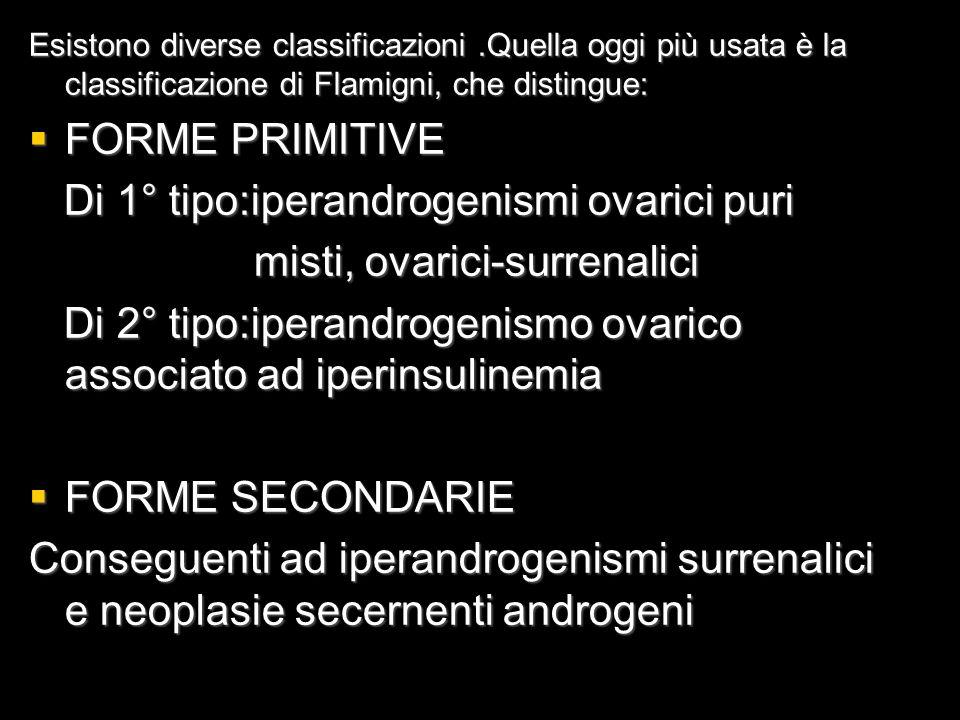 Di 1° tipo:iperandrogenismi ovarici puri misti, ovarici-surrenalici