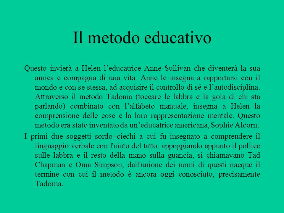Il metodo educativo