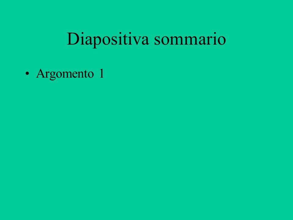 Diapositiva sommario Argomento 1