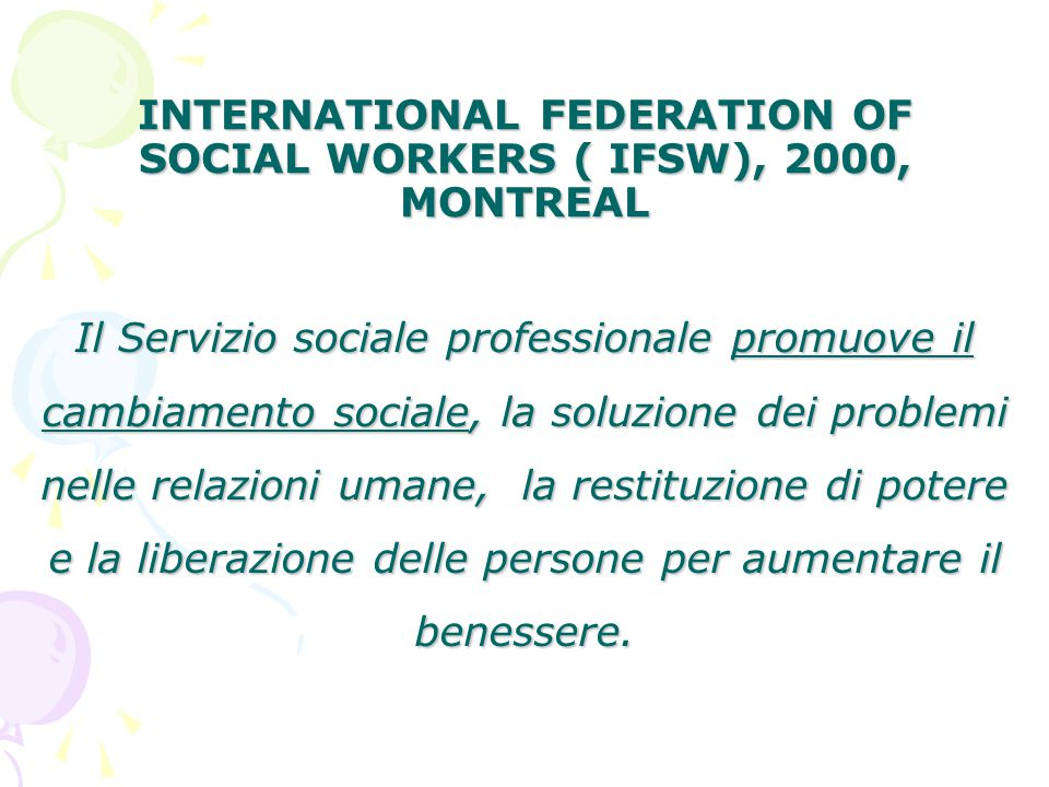 INTERNATIONAL FEDERATION OF SOCIAL WORKERS ( IFSW), 2000, MONTREAL
