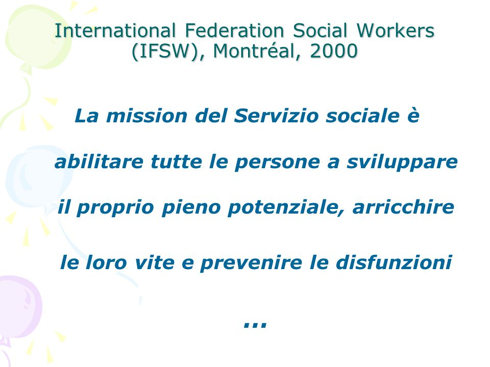 International Federation Social Workers (IFSW), Montréal, 2000
