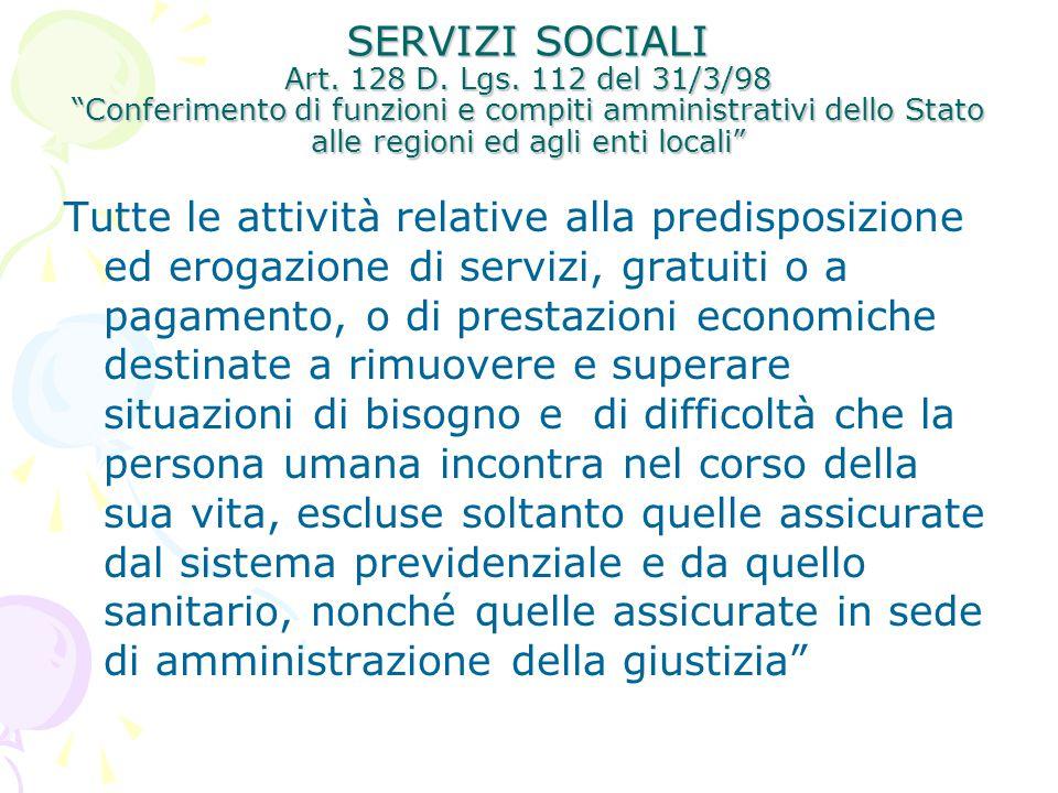 SERVIZI SOCIALI Art. 128 D. Lgs