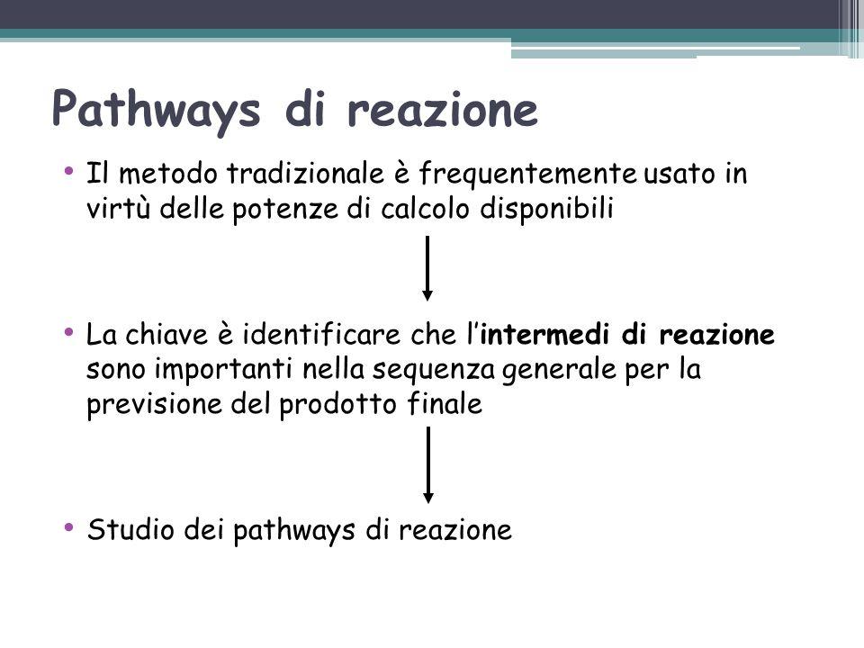 Pathways di reazione Il metodo tradizionale è frequentemente usato in virtù delle potenze di calcolo disponibili.
