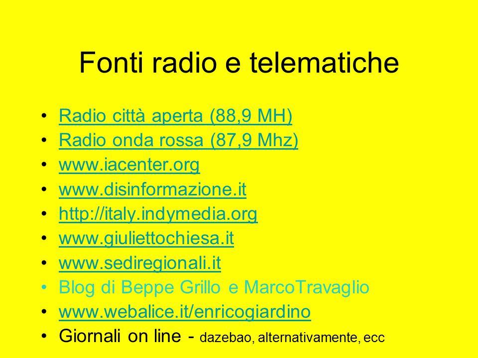 Fonti radio e telematiche