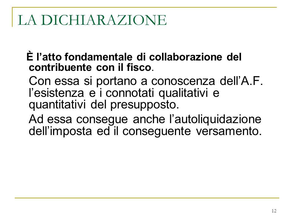 LA DICHIARAZIONE È l'atto fondamentale di collaborazione del contribuente con il fisco.
