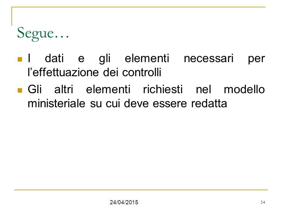 Segue… I dati e gli elementi necessari per l'effettuazione dei controlli.
