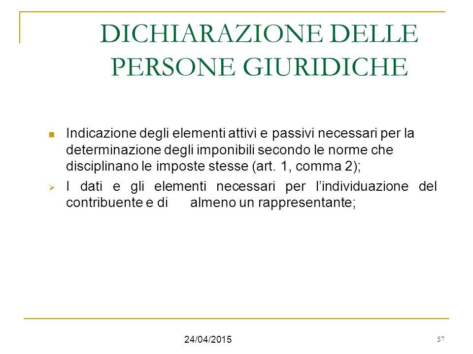 DICHIARAZIONE DELLE PERSONE GIURIDICHE