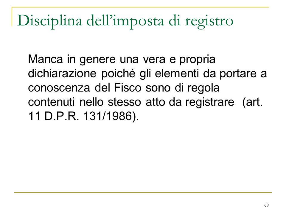 Disciplina dell'imposta di registro