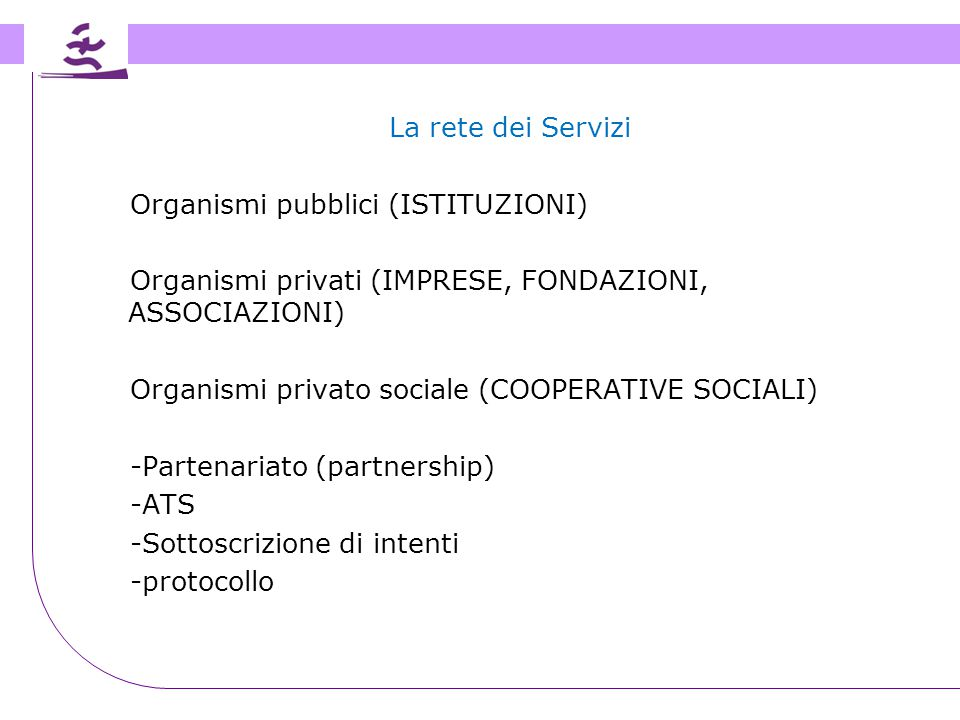 La rete dei Servizi Organismi pubblici (ISTITUZIONI) Organismi privati (IMPRESE, FONDAZIONI, ASSOCIAZIONI)