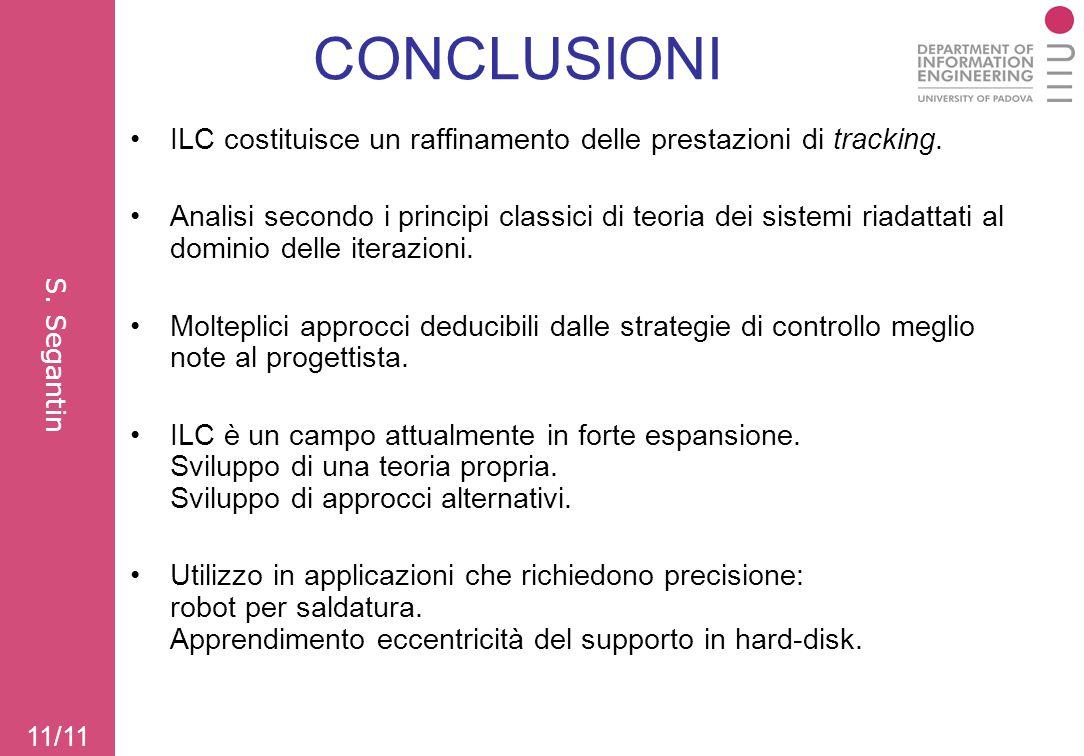 CONCLUSIONI ILC costituisce un raffinamento delle prestazioni di tracking.