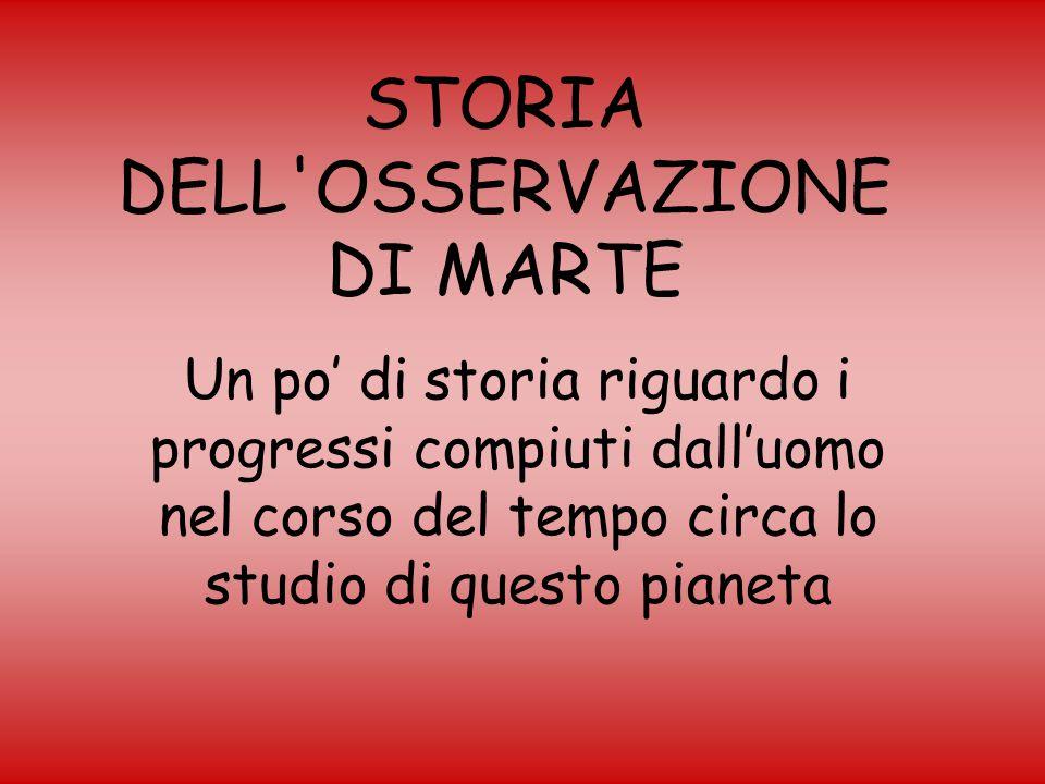 STORIA DELL OSSERVAZIONE DI MARTE