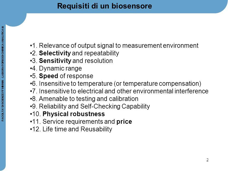 Requisiti di un biosensore