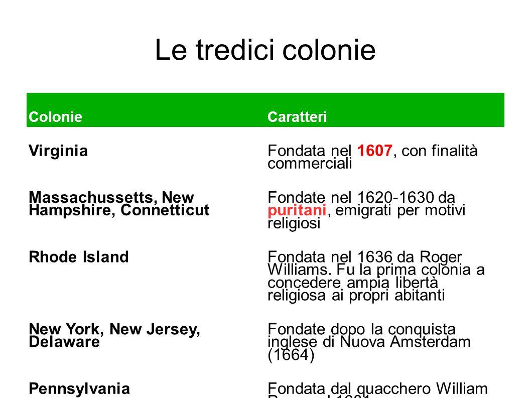 Le tredici colonie Virginia Fondata nel 1607, con finalità commerciali