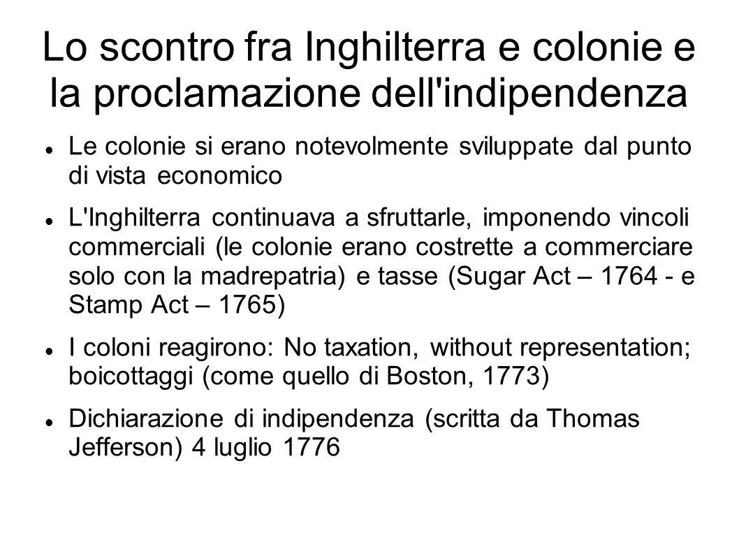 Lo scontro fra Inghilterra e colonie e la proclamazione dell indipendenza