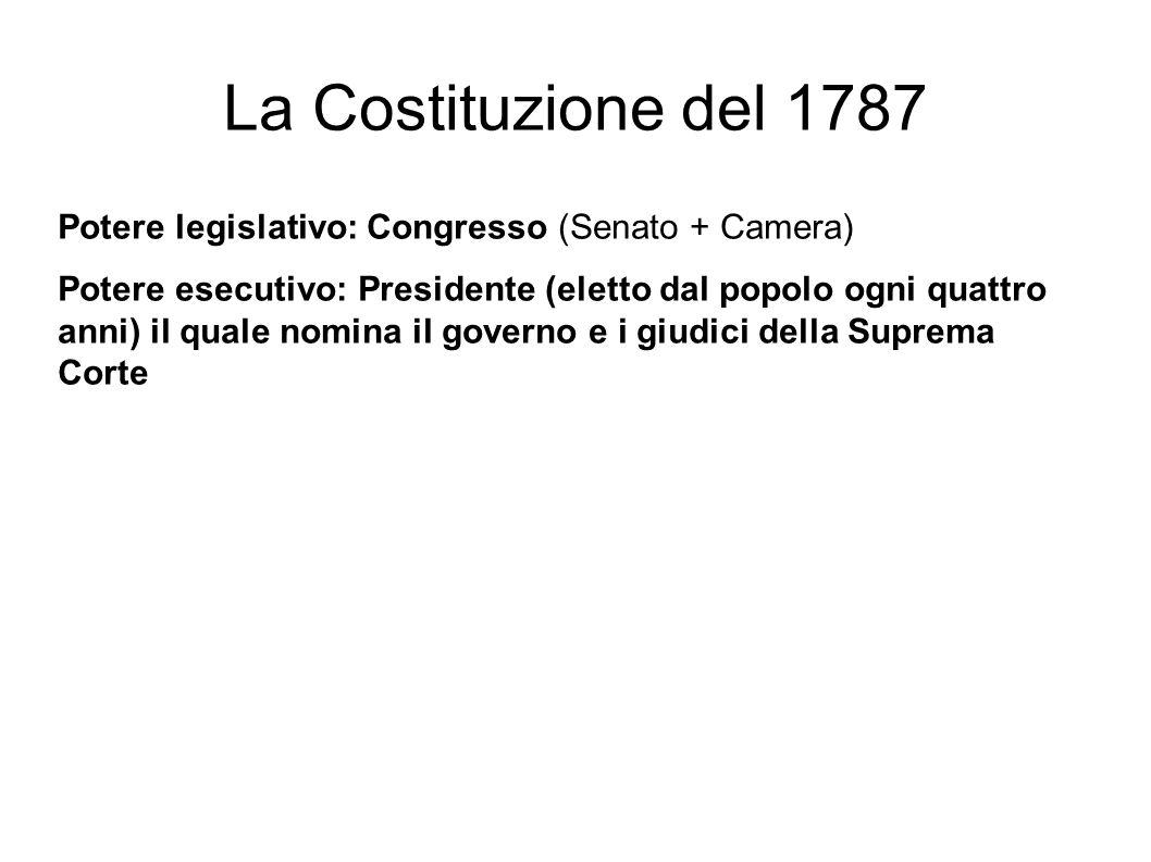 La Costituzione del 1787 Potere legislativo: Congresso (Senato + Camera)
