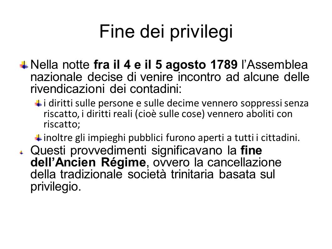 Fine dei privilegi