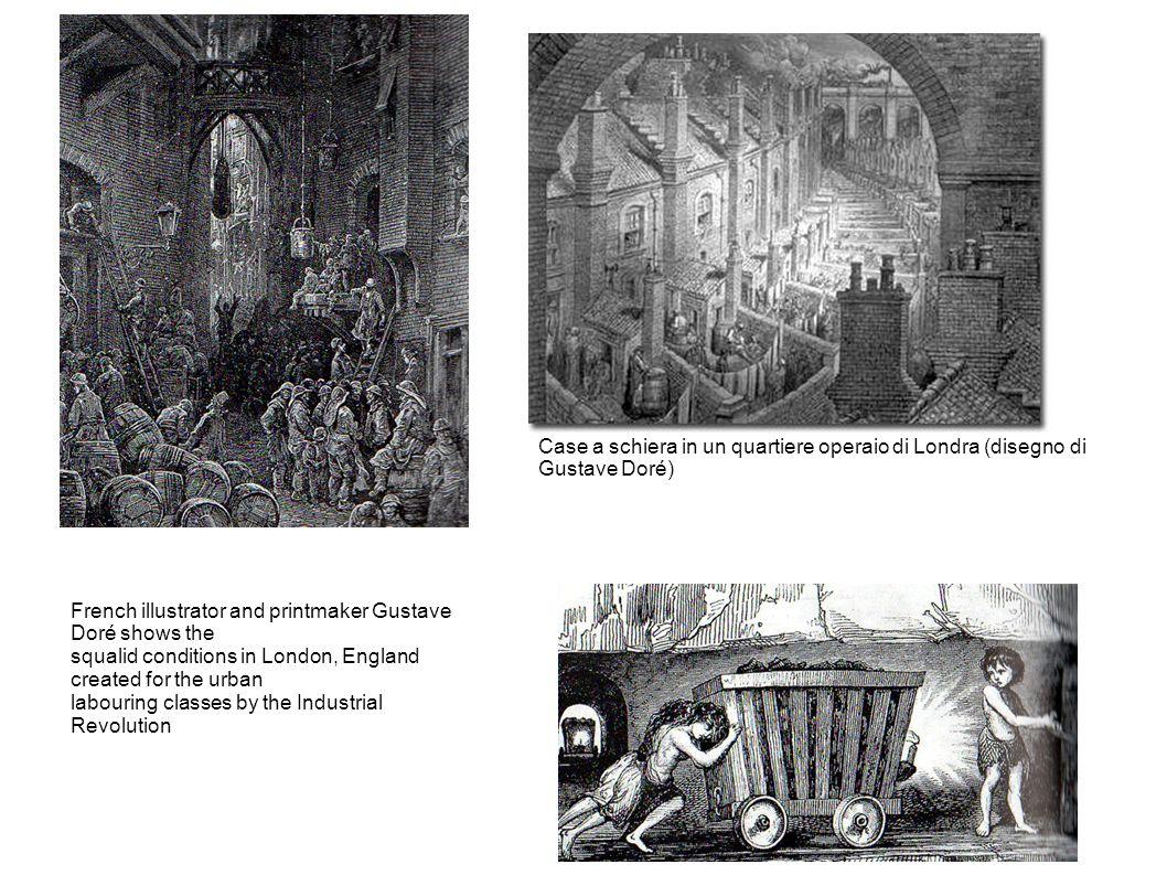 Case a schiera in un quartiere operaio di Londra (disegno di Gustave Doré)