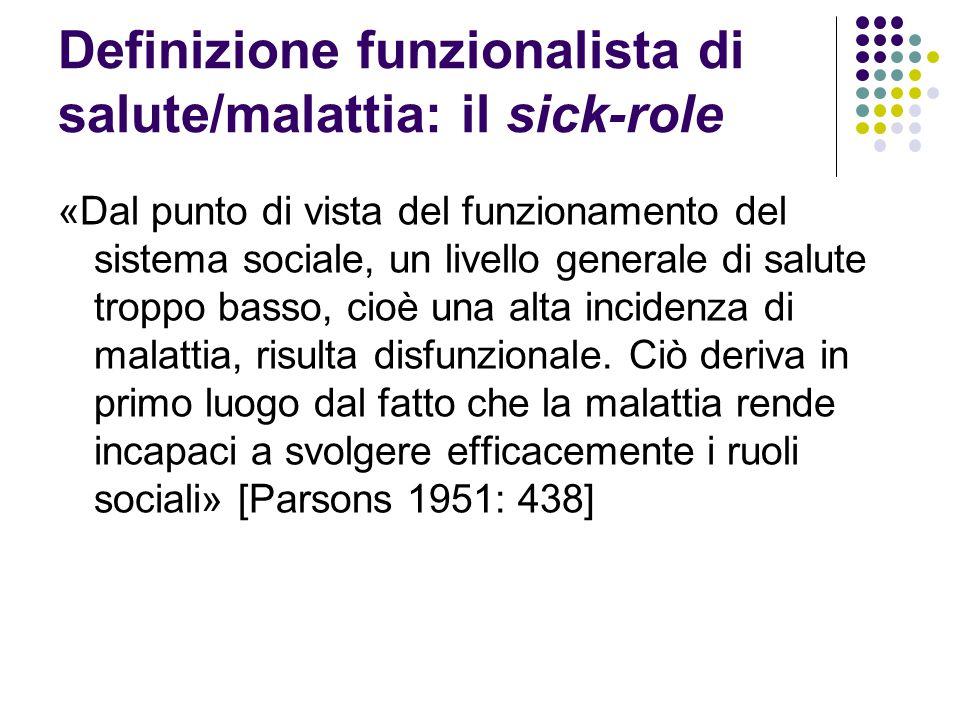 Definizione funzionalista di salute/malattia: il sick-role