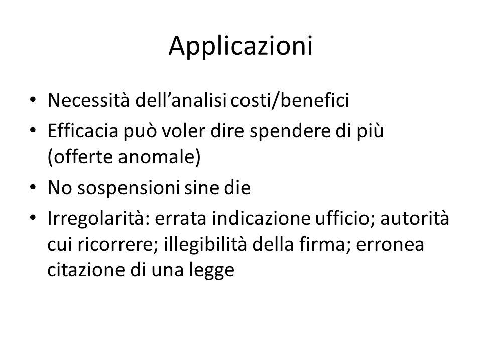 Applicazioni Necessità dell'analisi costi/benefici