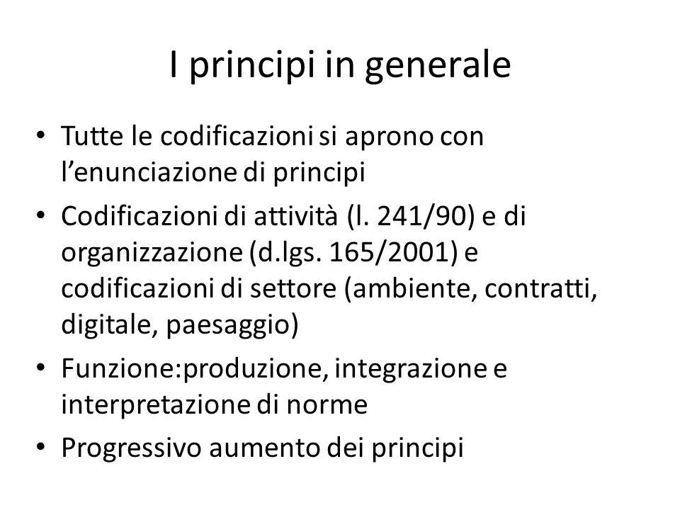 I principi in generale Tutte le codificazioni si aprono con l'enunciazione di principi.