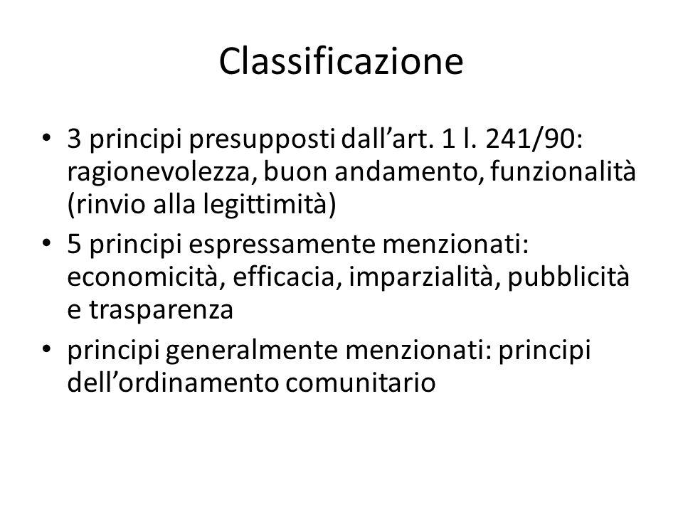 Classificazione 3 principi presupposti dall'art. 1 l. 241/90: ragionevolezza, buon andamento, funzionalità (rinvio alla legittimità)
