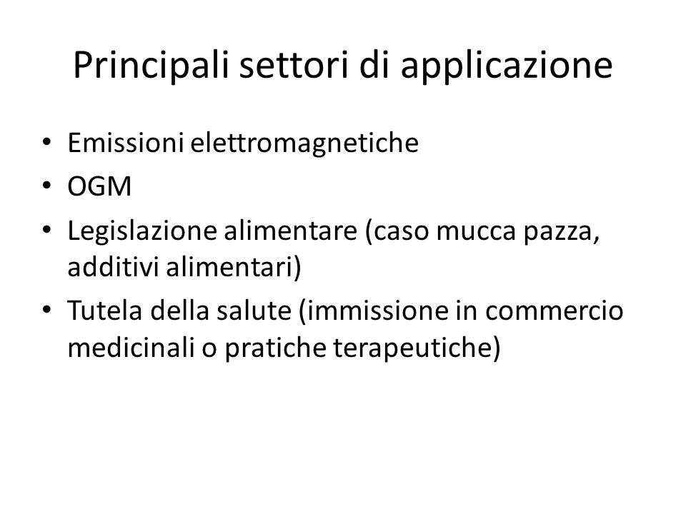 Principali settori di applicazione