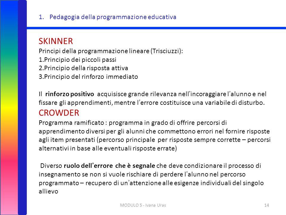 SKINNER CROWDER Pedagogia della programmazione educativa