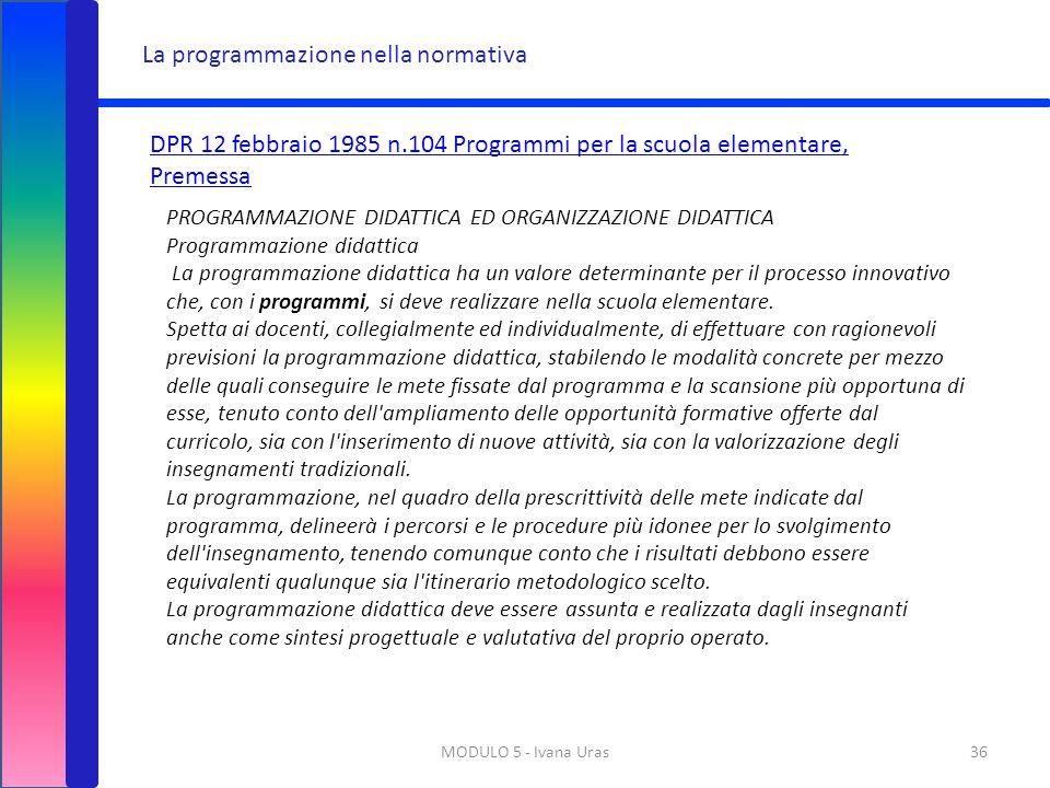La programmazione nella normativa