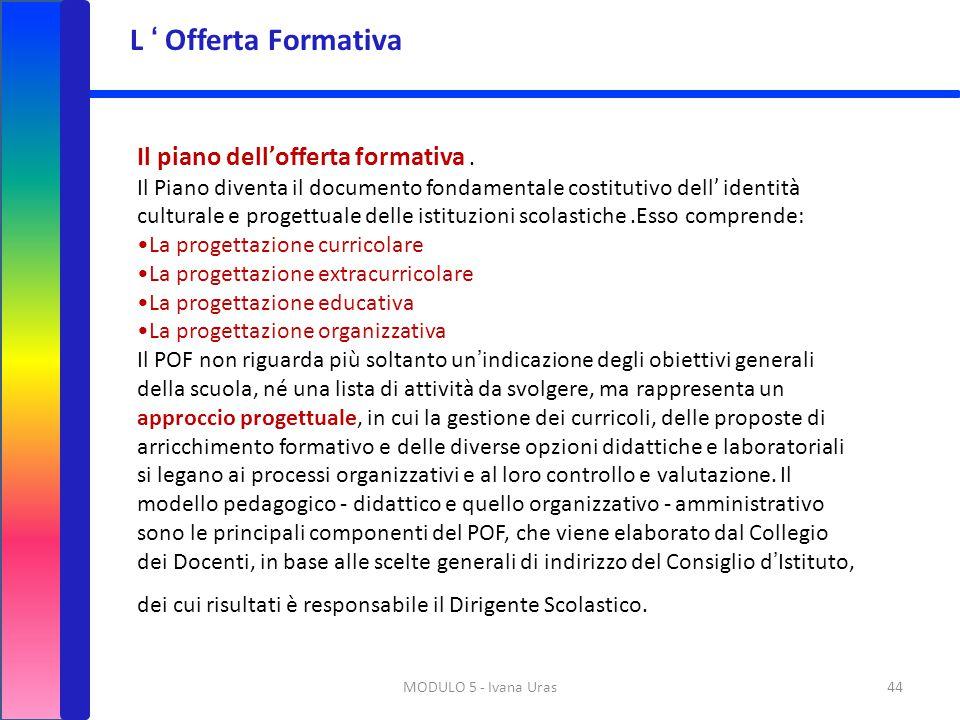 L ' Offerta Formativa Il piano dell'offerta formativa .