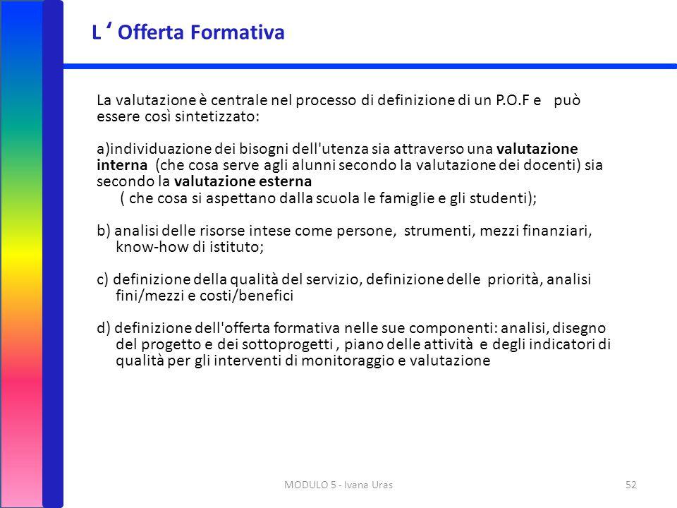 L ' Offerta Formativa La valutazione è centrale nel processo di definizione di un P.O.F e può essere così sintetizzato: