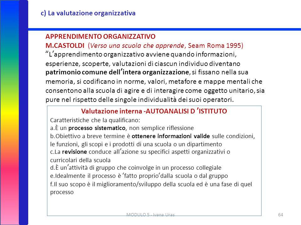 Valutazione interna -AUTOANALISI D 'ISTITUTO