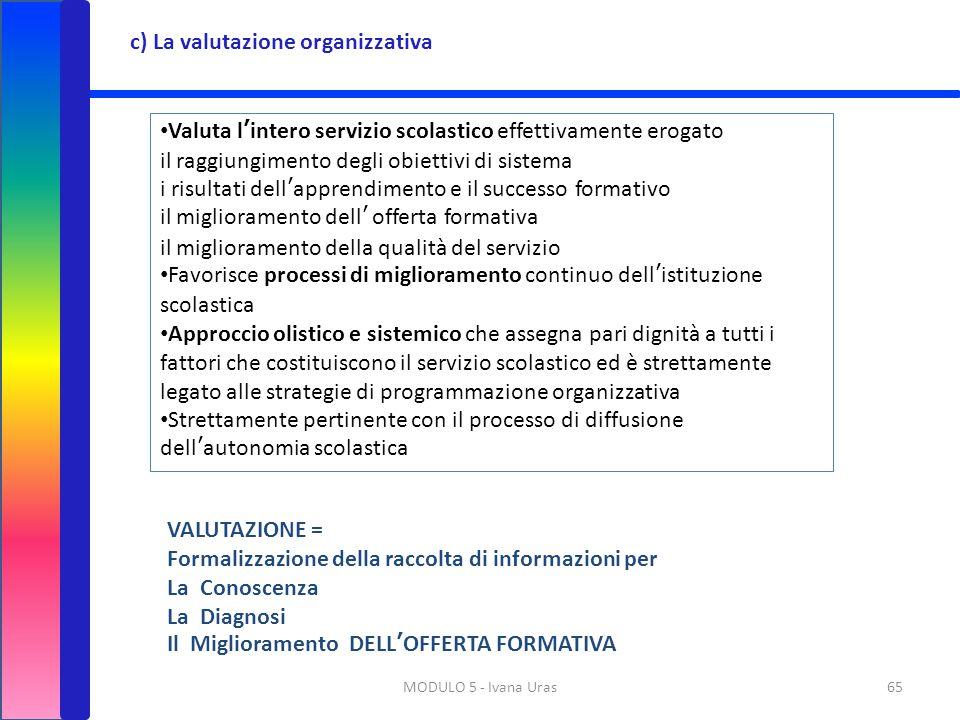 c) La valutazione organizzativa
