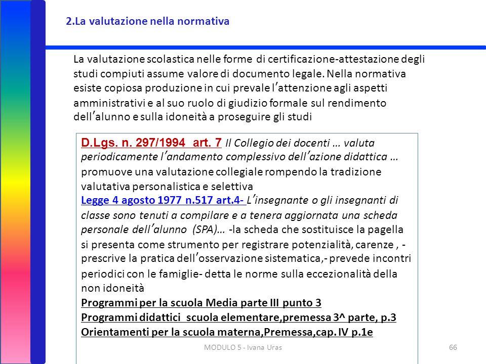 2.La valutazione nella normativa