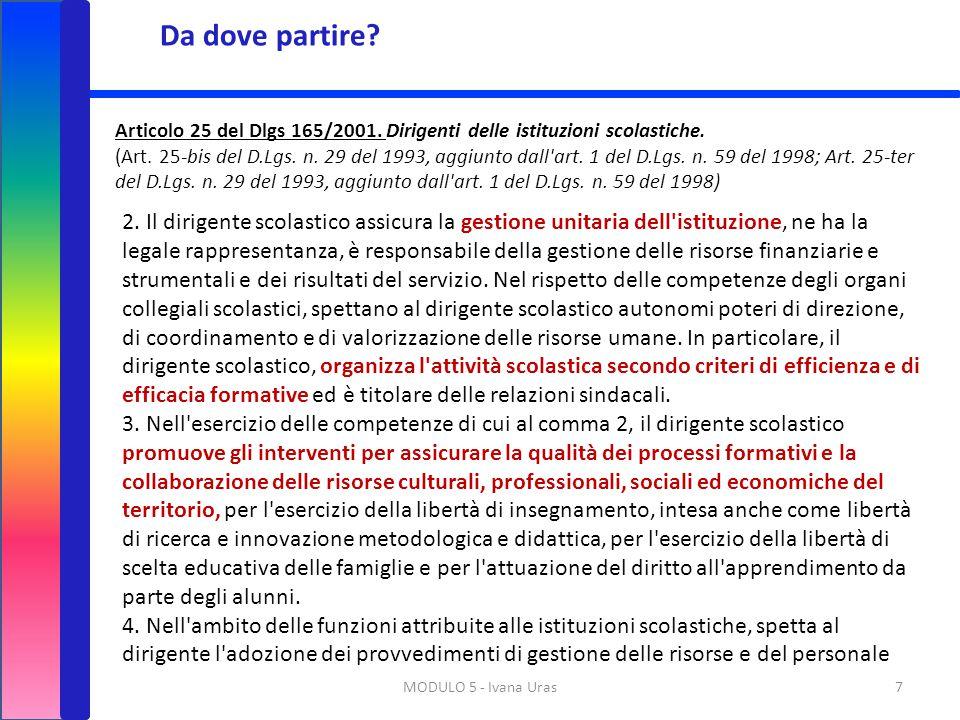 Da dove partire Articolo 25 del Dlgs 165/2001. Dirigenti delle istituzioni scolastiche.