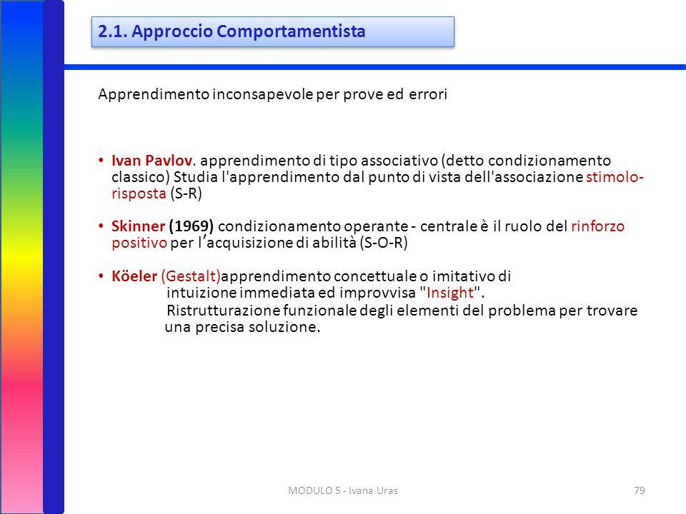 2.1. Approccio Comportamentista