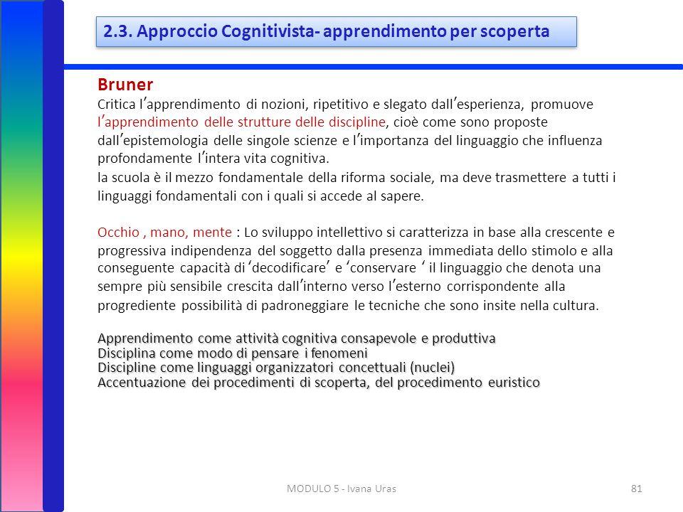 2.3. Approccio Cognitivista- apprendimento per scoperta