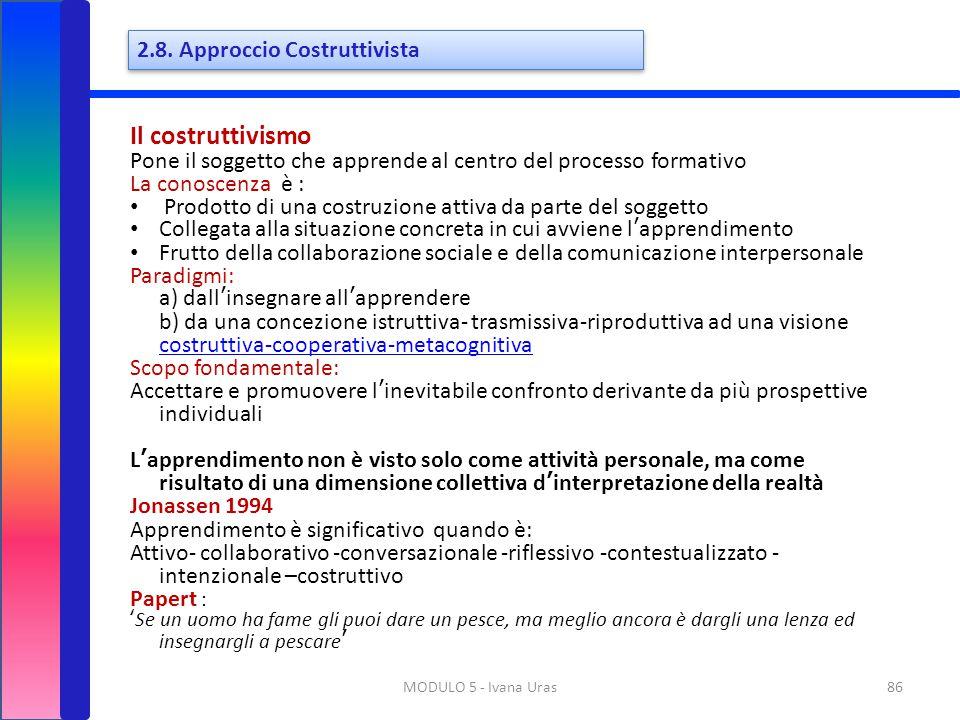 Il costruttivismo 2.8. Approccio Costruttivista