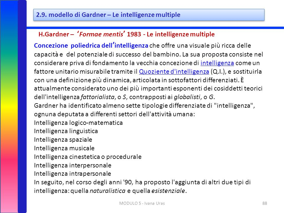 2.9. modello di Gardner – Le intelligenze multiple
