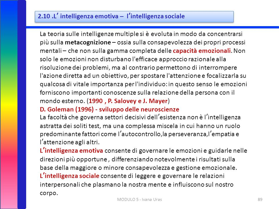 2.10 .L' intelligenza emotiva – l'intelligenza sociale
