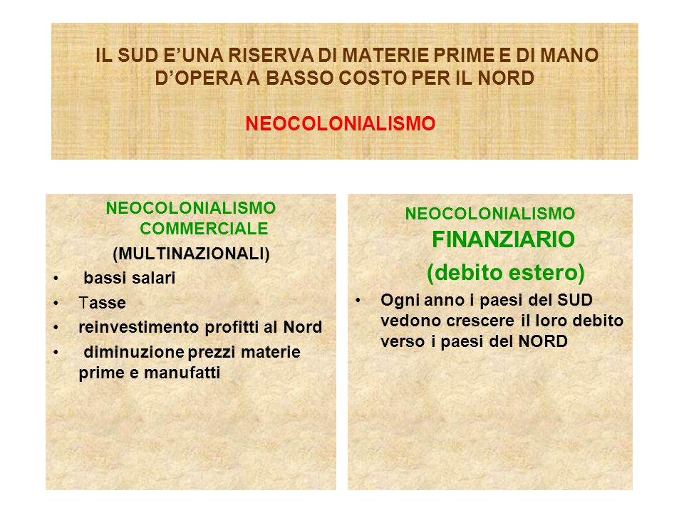 NEOCOLONIALISMO COMMERCIALE NEOCOLONIALISMO FINANZIARIO