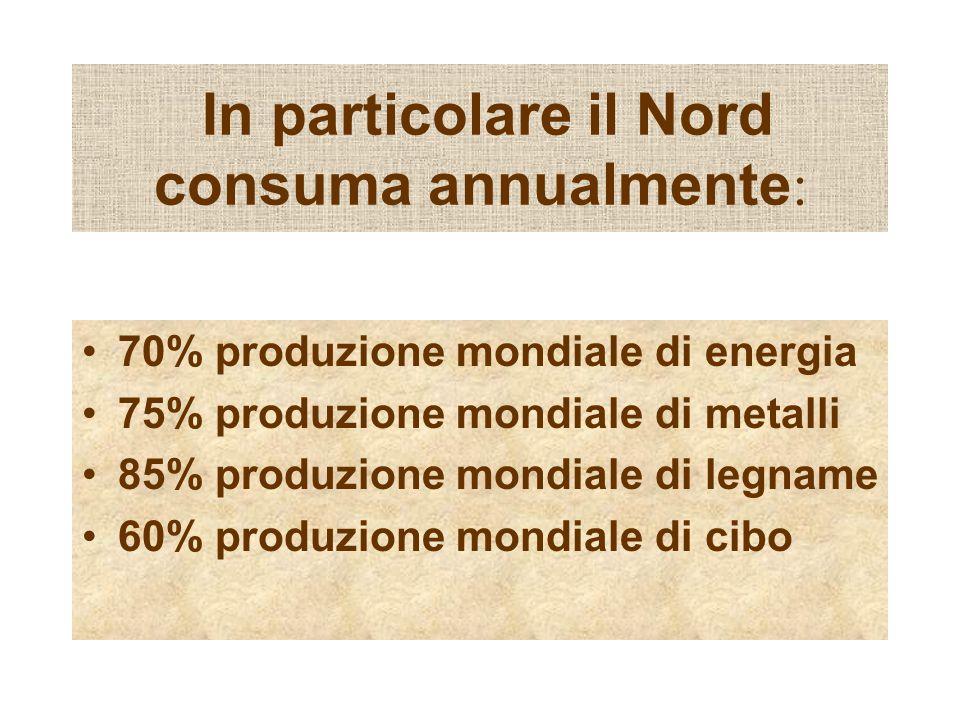In particolare il Nord consuma annualmente: