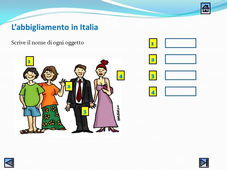 L'abbigliamento in Italia Scrive il nome di ogni oggetto