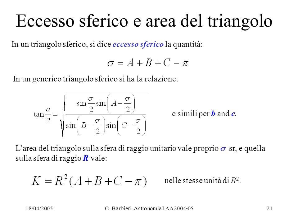 Eccesso sferico e area del triangolo