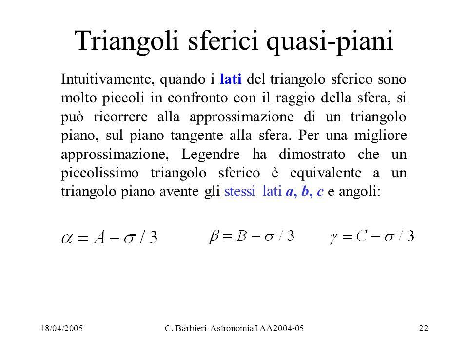 Triangoli sferici quasi-piani
