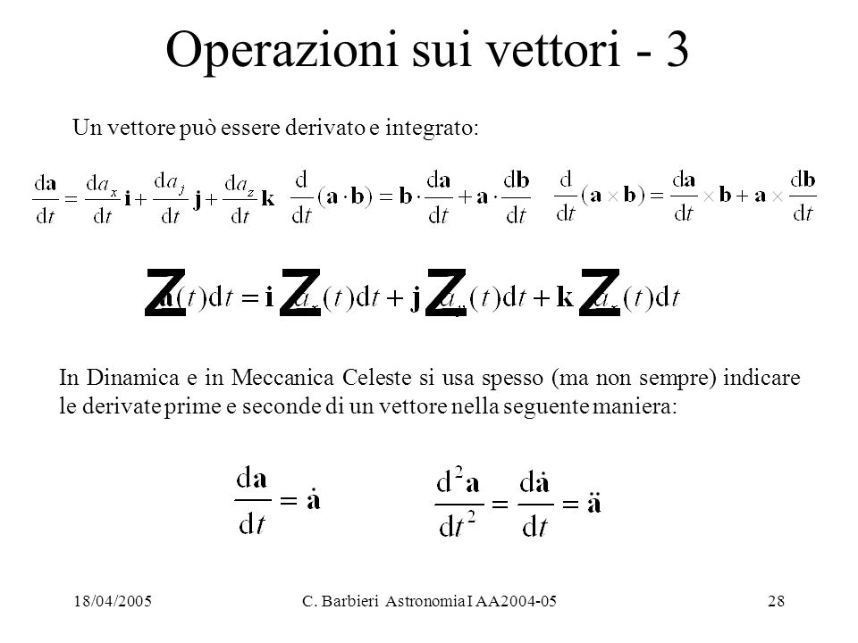 Operazioni sui vettori - 3