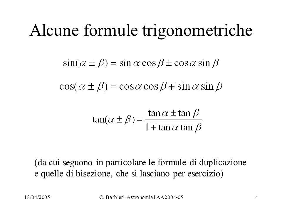 Alcune formule trigonometriche