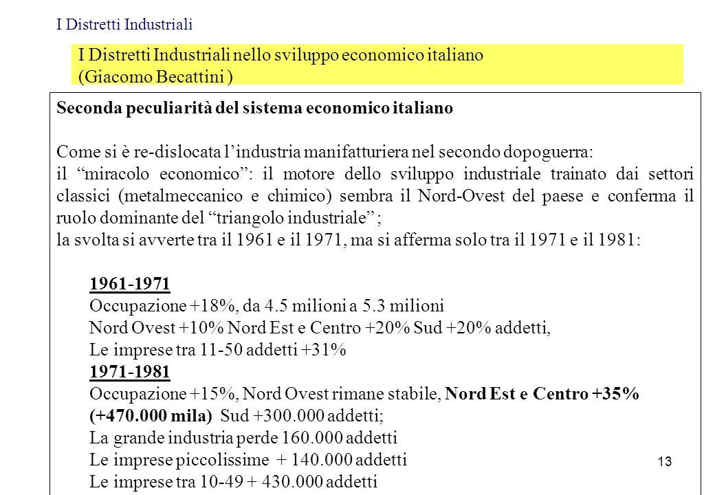 Seconda peculiarità del sistema economico italiano