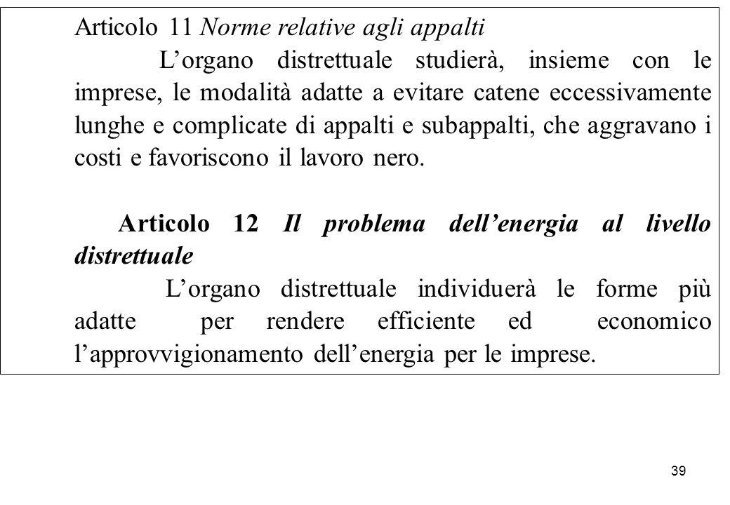 Articolo 11 Norme relative agli appalti