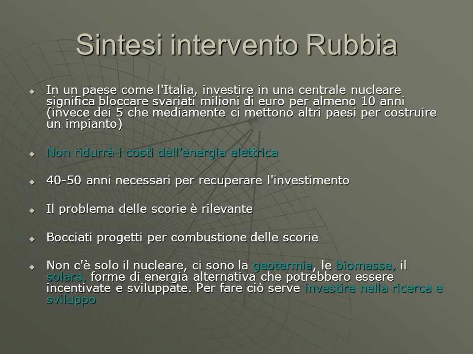 Sintesi intervento Rubbia