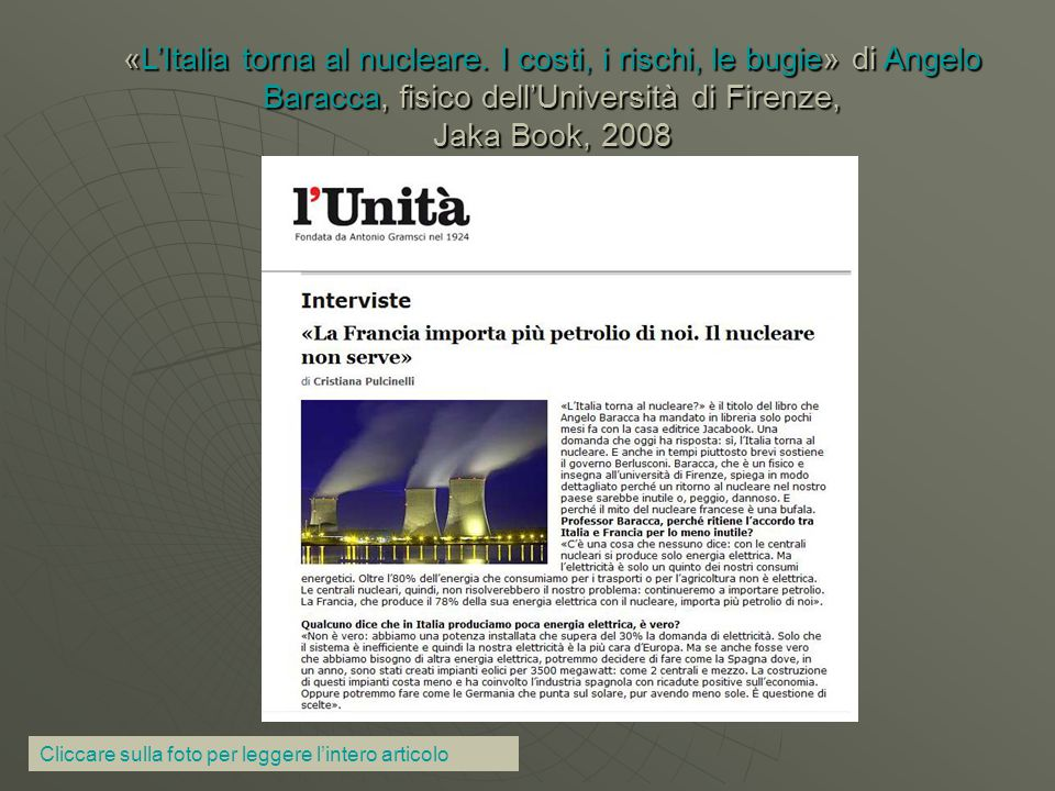 «L'Italia torna al nucleare